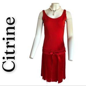 Citrine Sleeveless Red Dress w/Beaded Belt Size 10